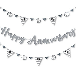 We Still Do - 25th Wedding Anniversary - Anniversary Party Letter Banner Decoration - 36 Banner Cutouts and Happy Anniversary Banner Letters