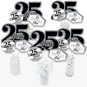 We Still Do - 25th Wedding Anniversary - Anniversary Party Centerpiece Sticks - Table Toppers - Set of 15