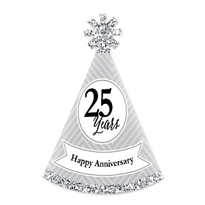 We Still Do - 25th Wedding Anniversary - Personalized Mini Cone Anniversary Party Hats - Small Little Party Hats - Set of 10