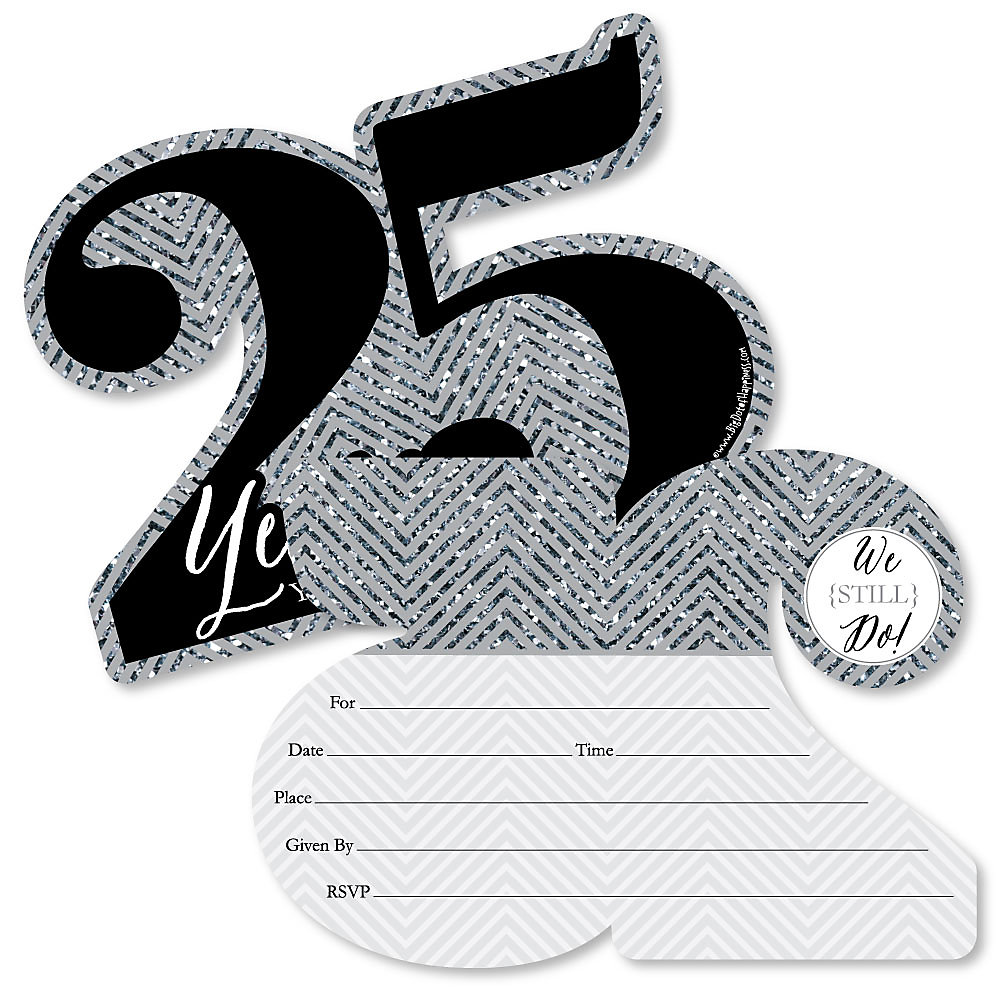 We Still Do 25th Wedding Anniversary Shaped Fill In Invitations Anniversary Party Invitation Cards With Envelopes Set Of 12