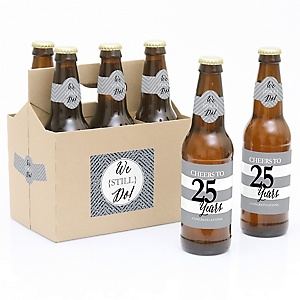We Still Do - 25th Wedding Anniversary - Decorations for Women and Men - 6 Beer Bottle Label Stickers and 1 Carrier