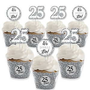 We Still Do - 25th Wedding Anniversary - Cupcake Decoration - Anniversary Party Cupcake Wrappers and Treat Picks Kit - Set of 24
