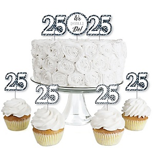 We Still Do - 25th Wedding Anniversary - Dessert Cupcake Toppers - Anniversary Party Clear Treat Picks - Set of 24