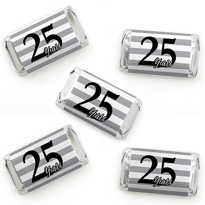 We Still Do - 25th Wedding Anniversary - Mini Candy Bar Wrapper Stickers - Anniversary Party Small Favors - 40 Count