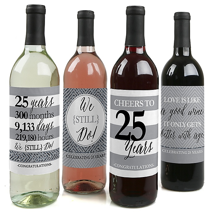 We Still Do - 25th Wedding Anniversary Decorations for Women and Men - Wine Bottle Label Stickers - Set of 4