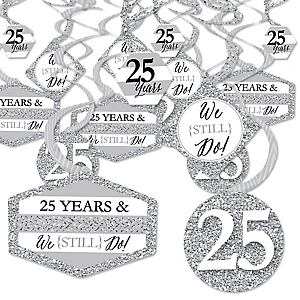 We Still Do - 25th Wedding Anniversary - Anniversary Party Hanging Decor - Party Decoration Swirls - Set of 40