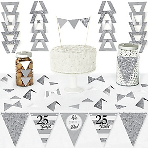 We Still Do - 25th Wedding Anniversary - DIY  Pennant Banner Decorations - Anniversary Party Triangle Kit - 99 Pieces