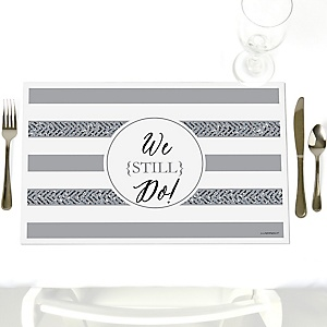 We Still Do - 25th Wedding Anniversary - Party Table Decorations - Wedding Anniversary Placemats - Set of 12
