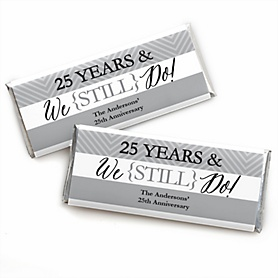 We Still Do - 25th Wedding Anniversary - Personalized Candy Bar Wrappers Wedding Anniversary Party Favors - Set of 24