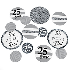 We Still Do - 25th Wedding Anniversary - Wedding Anniversary Giant Circle Confetti - Silver Anniversary Party Decorations - Large Confetti 27 Count