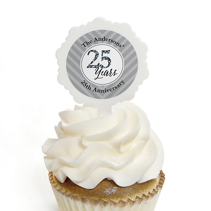 We Still Do - 25th Wedding Anniversary - Personalized Wedding Anniversary Cupcake Pick and Sticker Kit - 12 ct