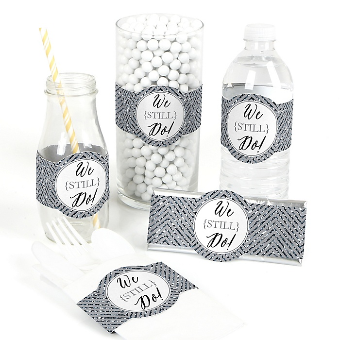 We Still Do - 25th Wedding Anniversary - DIY Party Wrappers - 15 ct