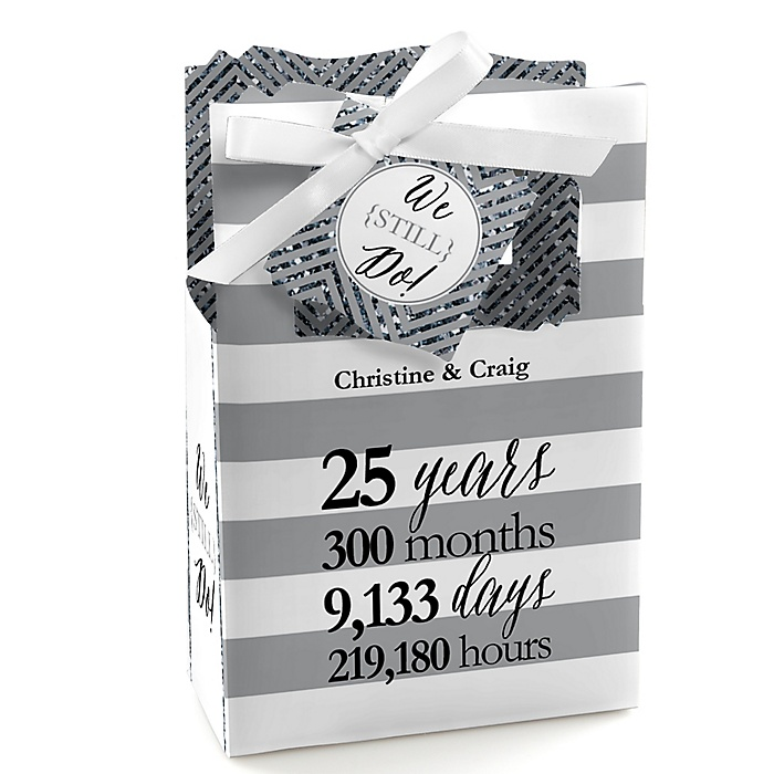 We Still Do - 25th Wedding Anniversary - Personalized Wedding Anniversary Favor Boxes - Set of 12