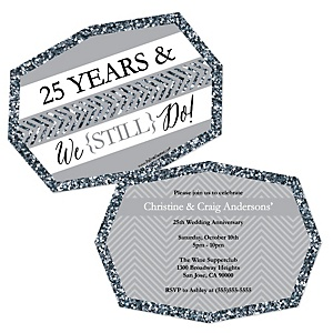 We Still Do - 25th Wedding Anniversary - Shaped Anniversary Invitations - Set of 12