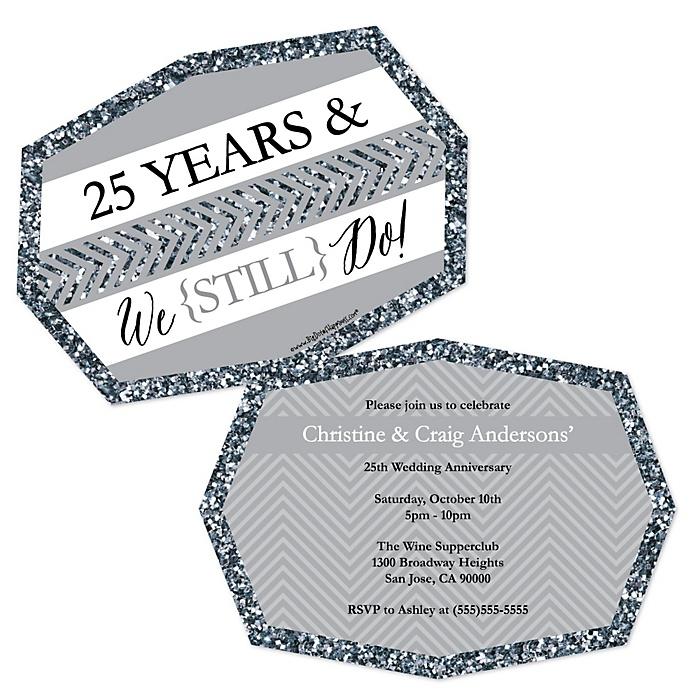 We Still Do - 25th Wedding Anniversary - Shaped Anniversary Invitations - Set of 12