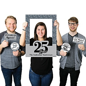 We Still Do - 25th Wedding Anniversary - Personalized Anniversary Selfie Photo Booth Picture Frame & Props - Printed on Sturdy Material