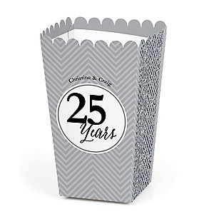 We Still Do - 25th Wedding Anniversary - Personalized Wedding Anniversary Popcorn Favor Treat Boxes - Set of 12