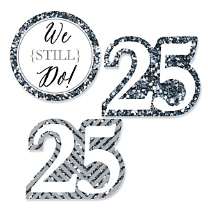 We Still Do - 25th Wedding Anniversary - DIY Shaped Wedding Anniversary Paper Cut-Outs - 24 ct