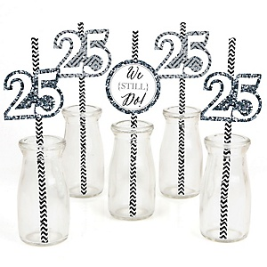 We Still Do - 25th Wedding Anniversary Paper Straw Decor - Anniversary Party Striped Decorative Straws - Set of 24