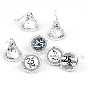 We Still Do - 25th Wedding Anniversary - Round Candy Labels Anniversary Party Favors - Fits Hershey's Kisses - 108 ct