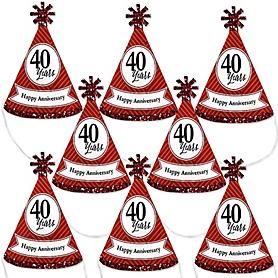 We Still Do - 40th Wedding Anniversary - Mini Cone Anniversary Party Hats - Small Little Party Hats - Set of 8
