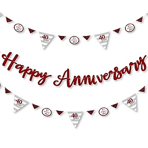 We Still Do - 40th Wedding Anniversary - Anniversary Party Letter Banner Decoration - 36 Banner Cutouts and Happy Anniversary Banner Letters