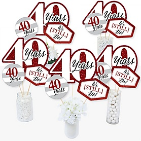 We Still Do - 40th Wedding Anniversary - Anniversary Party Centerpiece Sticks - Table Toppers - Set of 15