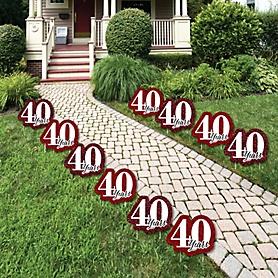 We Still Do - 40th Wedding Anniversary Lawn Decorations - Outdoor Anniversary Party Yard Decorations - 10 Piece