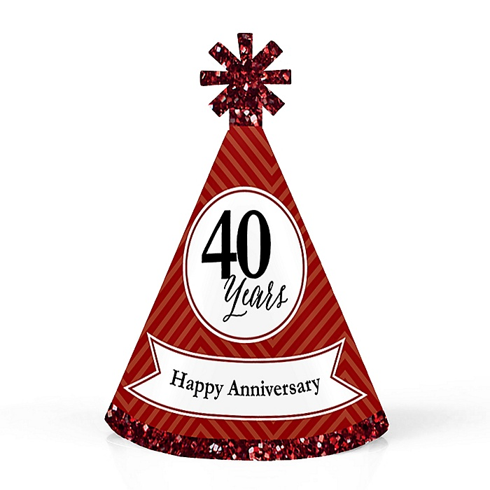 We Still Do - 40th Wedding Anniversary - Personalized Mini Cone Anniversary Party Hats - Small Little Party Hats - Set of 10