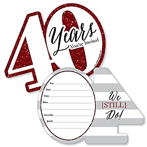 We Still Do - 40th Wedding Anniversary - Shaped Fill-In Invitations - Anniversary Party Invitation Cards with Envelopes - Set of 12