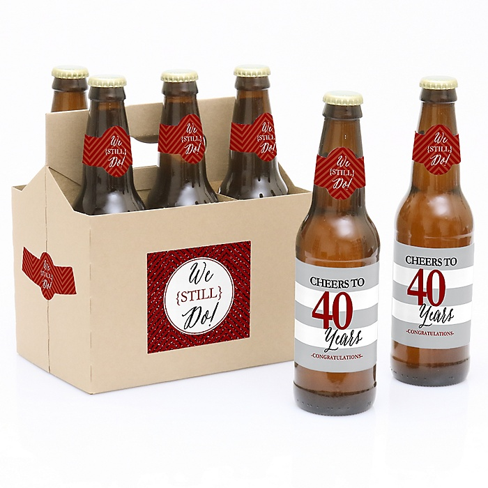 We Still Do - 40th Wedding Anniversary - Decorations for Women and Men - 6 Beer Bottle Label Stickers and 1 Carrier