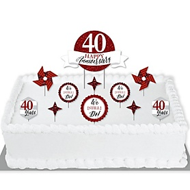 We Still Do - 40th Wedding Anniversary - Anniversary Party Cake Decorating Kit - Happy Anniversary Cake Topper Set - 11 Pieces
