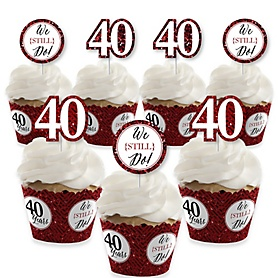 We Still Do - 40th Wedding Anniversary - Cupcake Decoration - Anniversary Party Cupcake Wrappers and Treat Picks Kit - Set of 24