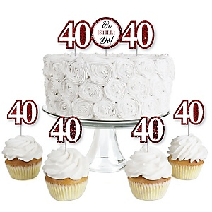 We Still Do - 40th Wedding Anniversary - Dessert Cupcake Toppers - Anniversary Party Clear Treat Picks - Set of 24