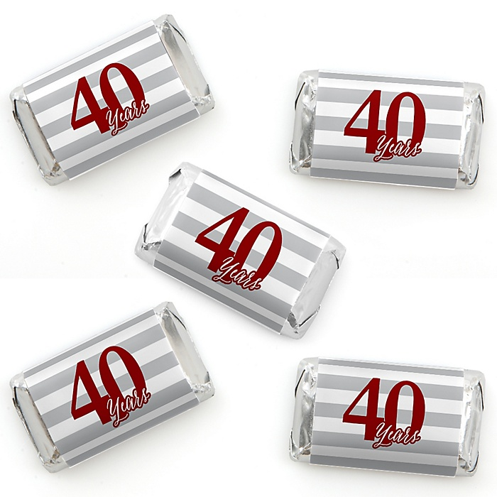We Still Do - 40th Wedding Anniversary - Mini Candy Bar Wrapper Stickers - Anniversary Party Small Favors - 40 Count