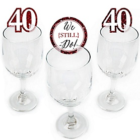 We Still Do - 40th Wedding Anniversary - Shaped Anniversary Party Wine Glass Markers - Set of 24