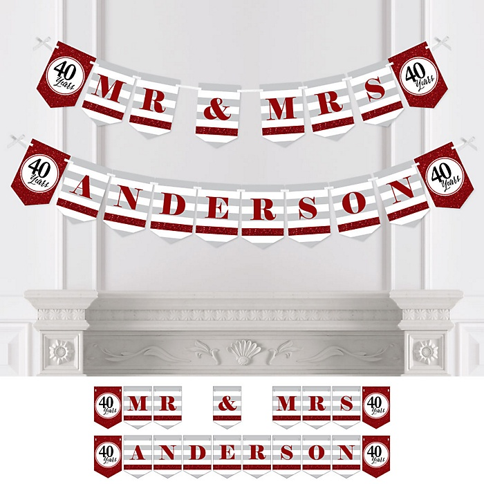 We Still Do - 40th Wedding Anniversary - Personalized Anniversary Party Bunting Banner & Decorations