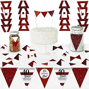 We Still Do - 40th Wedding Anniversary - DIY  Pennant Banner Decorations - Anniversary Party Triangle Kit - 99 Pieces