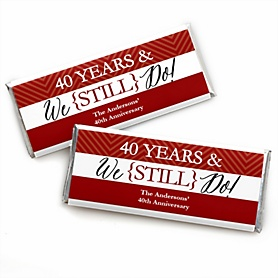 We Still Do - 40th Wedding Anniversary - Personalized Candy Bar Wrappers Wedding Anniversary Party Favors - Set of 24