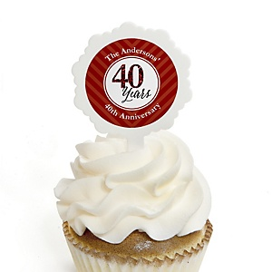 We Still Do - 40th Wedding Anniversary - Personalized Wedding Anniversary Cupcake Pick and Sticker Kit - 12 ct