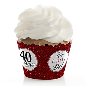 We Still Do - 40th Wedding Anniversary - Wedding Anniversary Decorations - Party Cupcake Wrappers - Set of 12