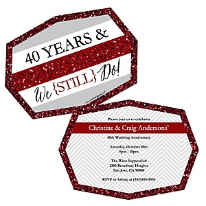 We Still Do - 40th Wedding Anniversary - Shaped Anniversary Invitations - Set of 12