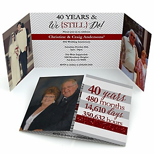 We Still Do - 40th Wedding Anniversary - Personalized Wedding Anniversary Photo Invitations - Set of 12