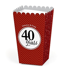 We Still Do - 40th Wedding Anniversary - Personalized Wedding Anniversary Popcorn Favor Treat Boxes - Set of 12