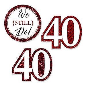 We Still Do - 40th Wedding Anniversary - DIY Shaped Wedding Anniversary Paper Cut-Outs - 24 ct