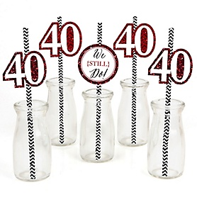 We Still Do - 40th Wedding Anniversary Paper Straw Decor - Anniversary Party Striped Decorative Straws - Set of 24