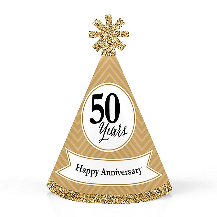 We Still Do - 50th Wedding Anniversary - Personalized Mini Cone Anniversary Party Hats - Small Little Party Hats - Set of 10