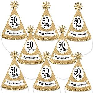 We Still Do - 50th Wedding Anniversary - Mini Cone Anniversary Party Hats - Small Little Party Hats - Set of 8