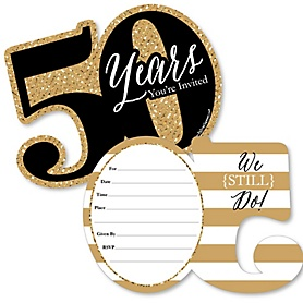 We Still Do - 50th Wedding Anniversary - Shaped Fill-In Invitations - Anniversary Party Invitation Cards with Envelopes - Set of 12