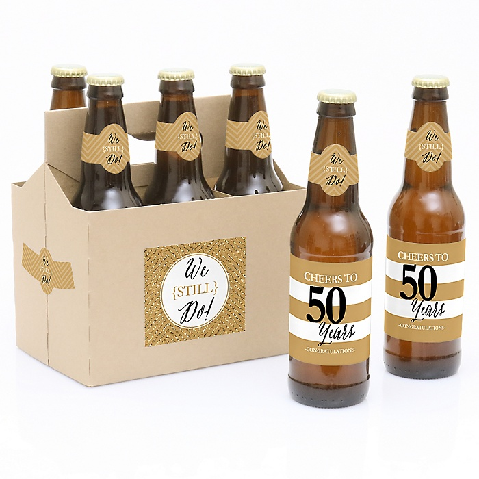 We Still Do - 50th Wedding Anniversary - Decorations for Women and Men - 6 Beer Bottle Label Stickers and 1 Carrier